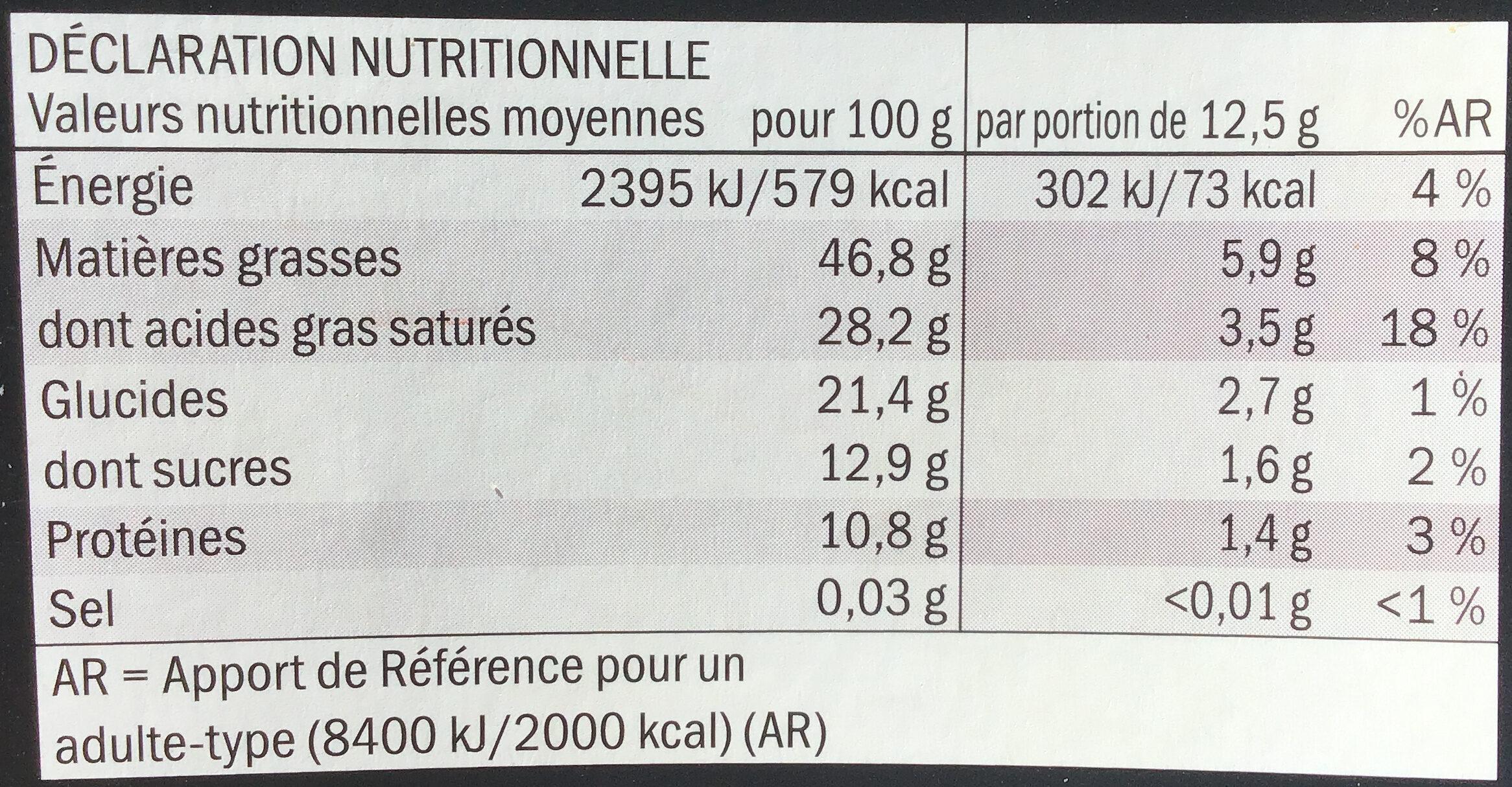 Chocolat noir Arriba 85% cacao - Informazioni nutrizionali - fr