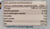 Thon entier Albacore au naturel - Valori nutrizionali - fr