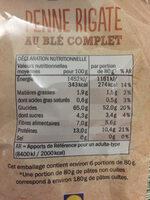 Bio penne rigate au blé complet - Informations nutritionnelles