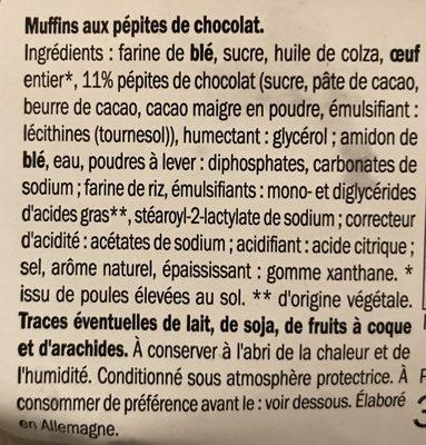 Muffins aux pepites de chocolat noir - Ingredients - fr