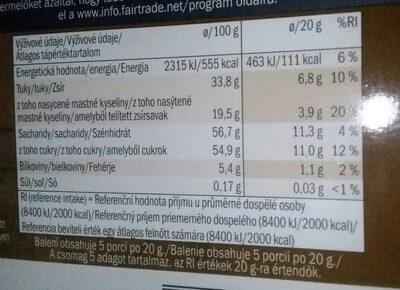 confiserie chocolate - Voedingswaarden - cs