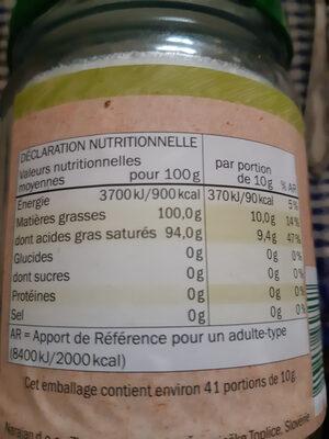 Huile vierge de noix de coco - Informations nutritionnelles