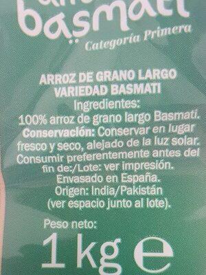 Arroz basmati - Ingredienti - es