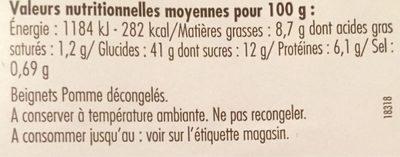 Beignets Pomme - Informations nutritionnelles - fr