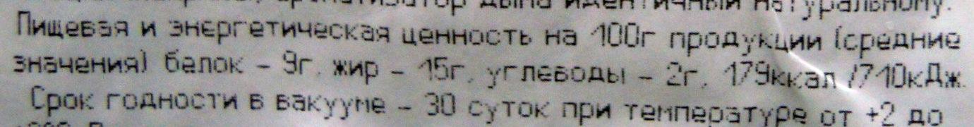 Свинина «Ароматная» копчено-вареная - Informations nutritionnelles - ru