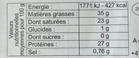 Comté - Voedingswaarden - fr