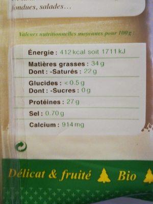 Comté bio - Nutrition facts - fr