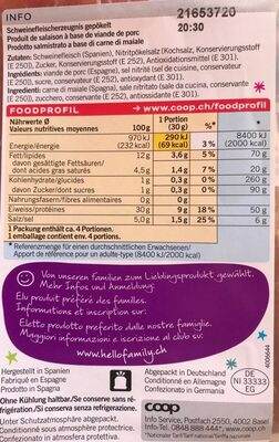 Jamón Serrano - Informazioni nutrizionali - fr