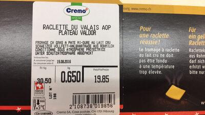 Valdor Raclette du Valais AOP - Ingredients