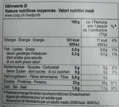 Schweizer Forellenfilets - Nutrition facts - de
