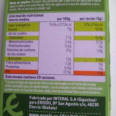 Caldo de verdura - Nutrition facts