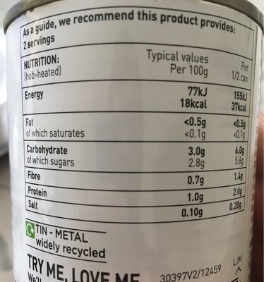 Chopped tomatoes - Nutrition facts