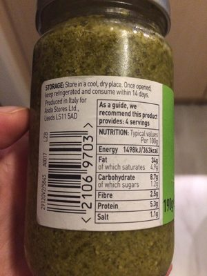 Asda Green Pesto Sauce - Nutrition facts