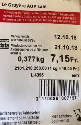 Gruyère AOP salé - Ingrediënten