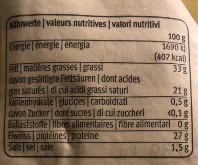 Le gruyere AOP doux - Nutrition facts