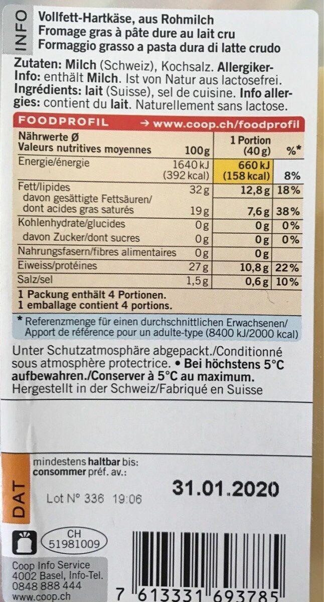 Gruyère - Nutrition facts