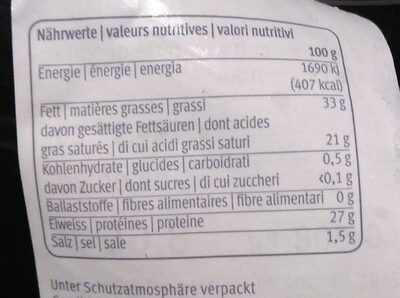 Le gruyère AOP - Nutrition facts