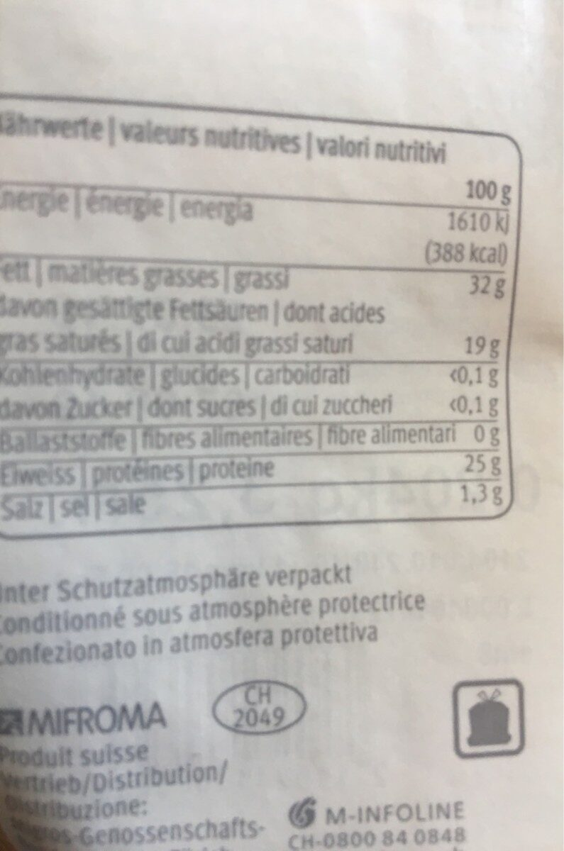 Appenzeller fromage - Valori nutrizionali - fr