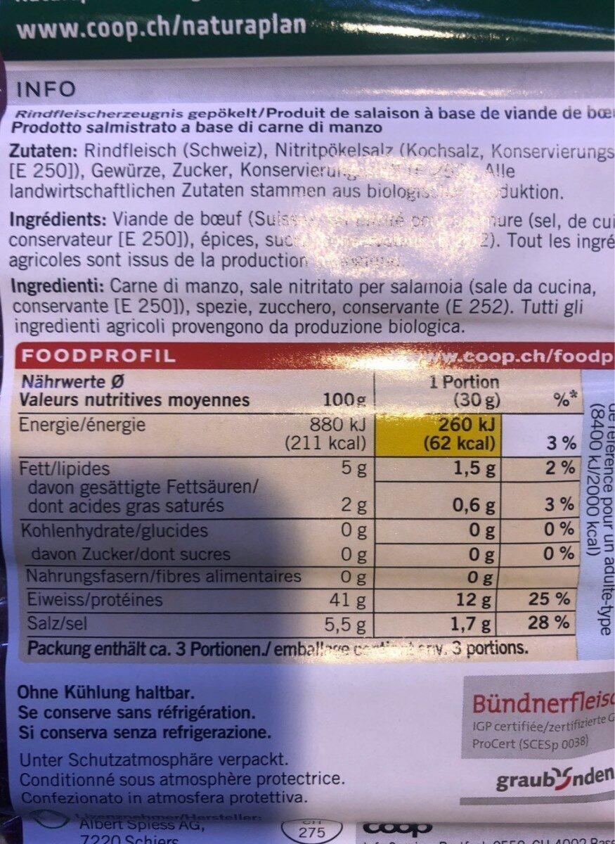 Viande des Grisons IGP - Voedingswaarden - fr