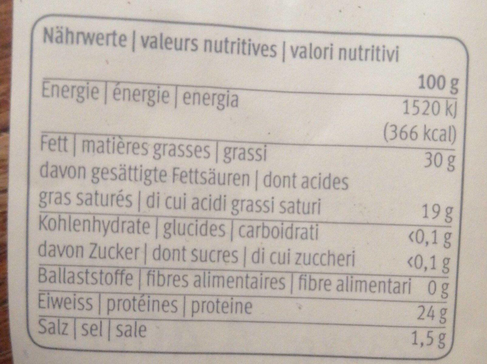 Vacherin fribourgeois AOP doux - Voedingswaarden - fr