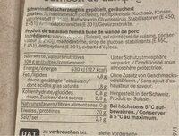 Burehamme / jambon de campagne - Informations nutritionnelles - fr