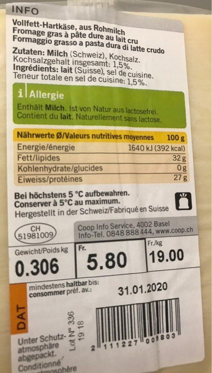 Gruyère mi-salé - Nutrition facts
