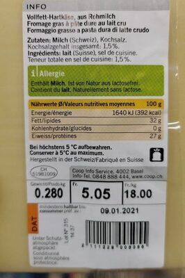 Gruyère AOP Doux - Informazioni nutrizionali