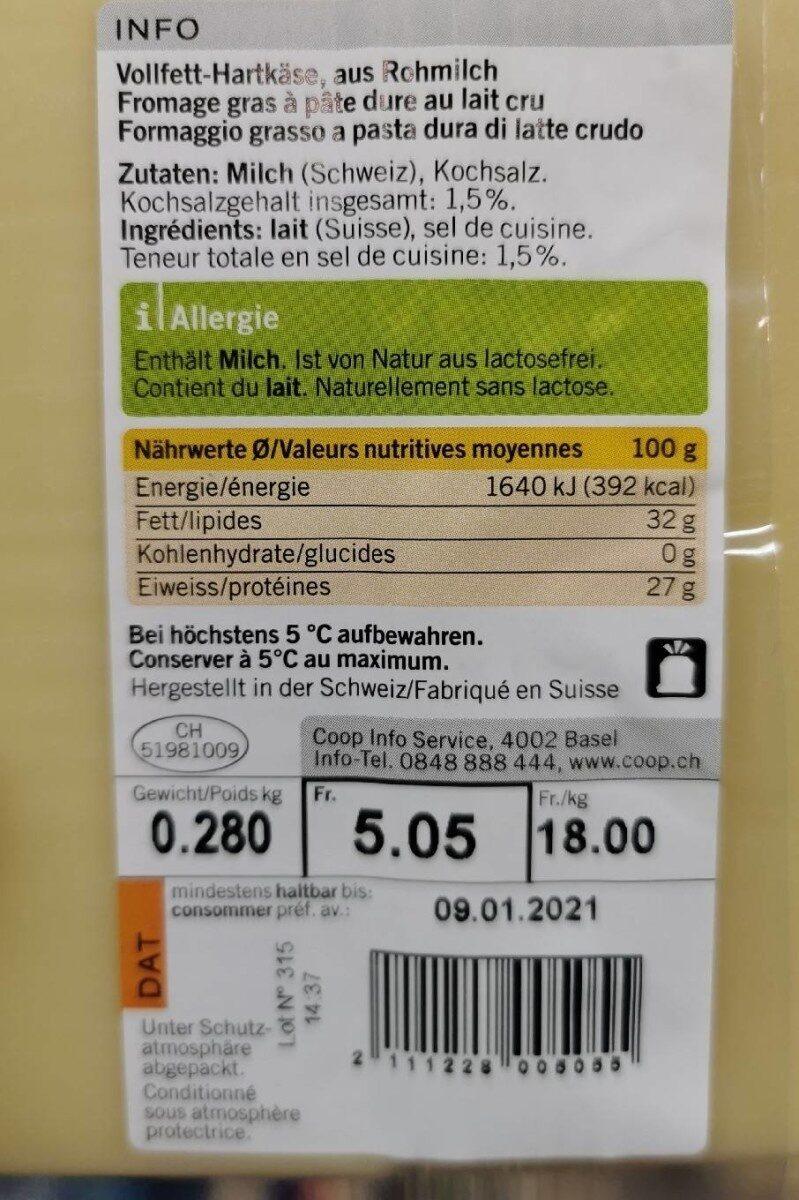 Gruyère AOP Doux - Informazioni nutrizionali - fr