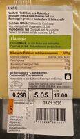 Gruyère AOP Doux - Nutrition facts