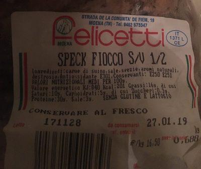 SPECK FIOCCO S/V 1/2 - Ingrediënten