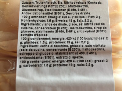 Poitrine de dinde - Ingredienti - fr
