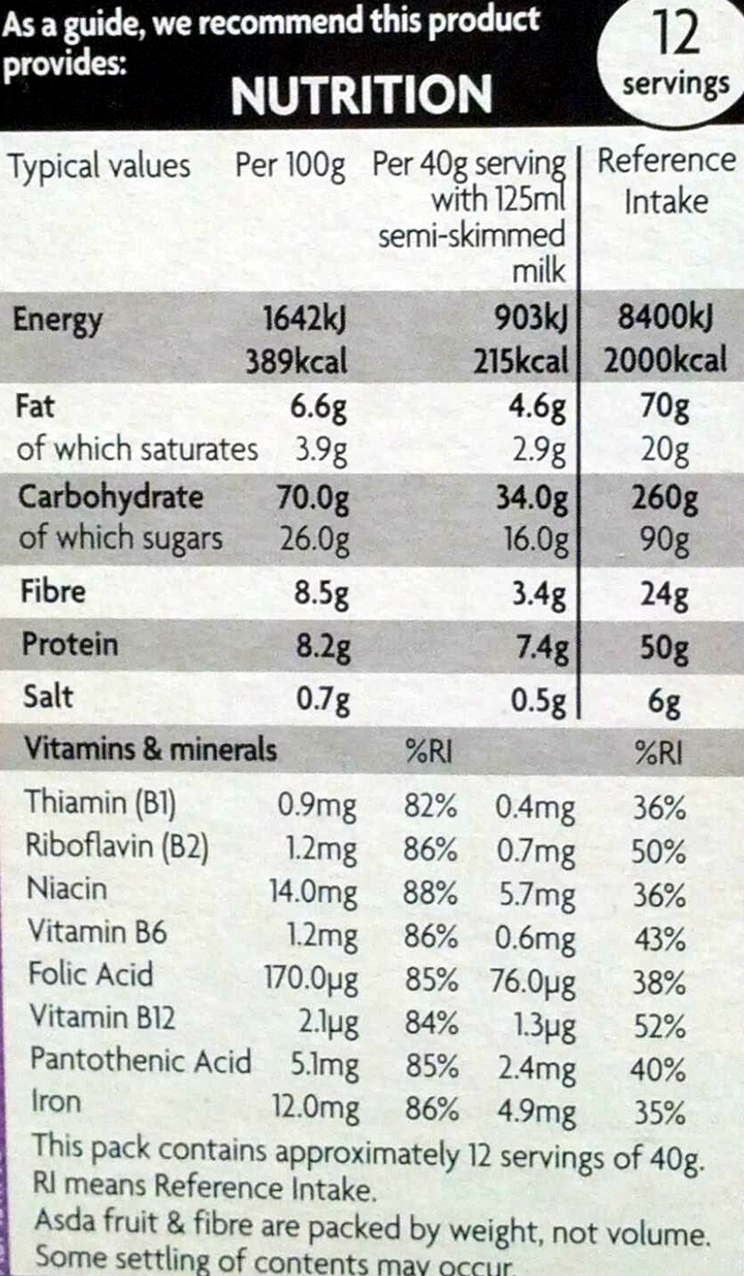 Fruit & fibre - Nutrition facts - en
