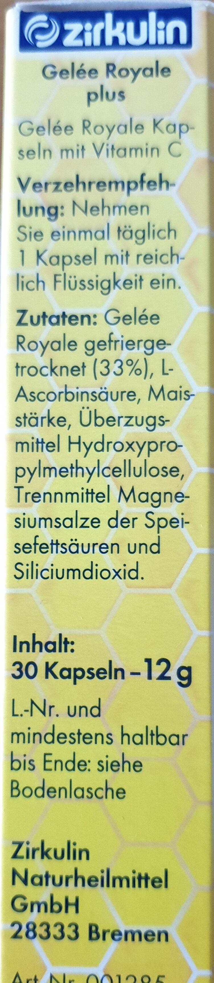 Gelee Royale plus - Inhaltsstoffe