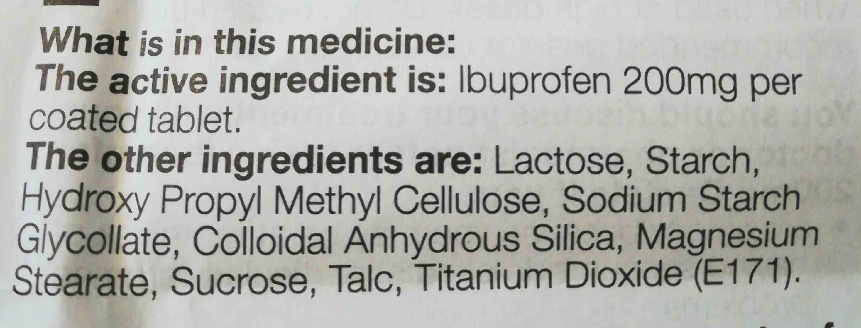 Asda ibuprofen 200mg caplets - Ingredients - en