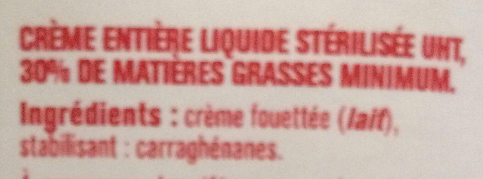 Crème entière liquide - Ingrediënten - fr
