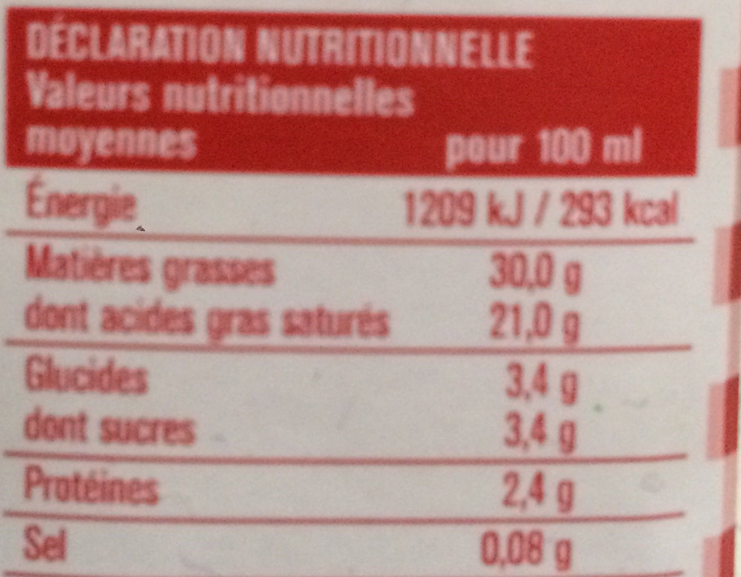 Crème entière liquide - Voedingswaarden - fr