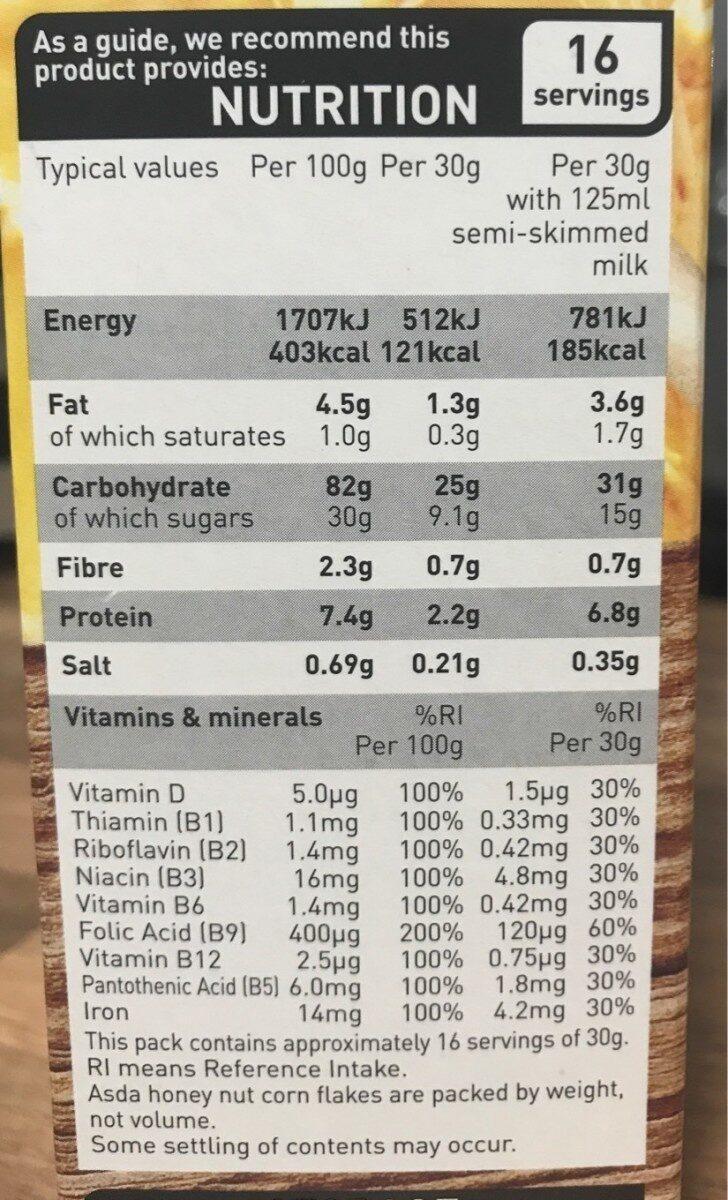 Honey nut corn flakes - Nutrition facts - en