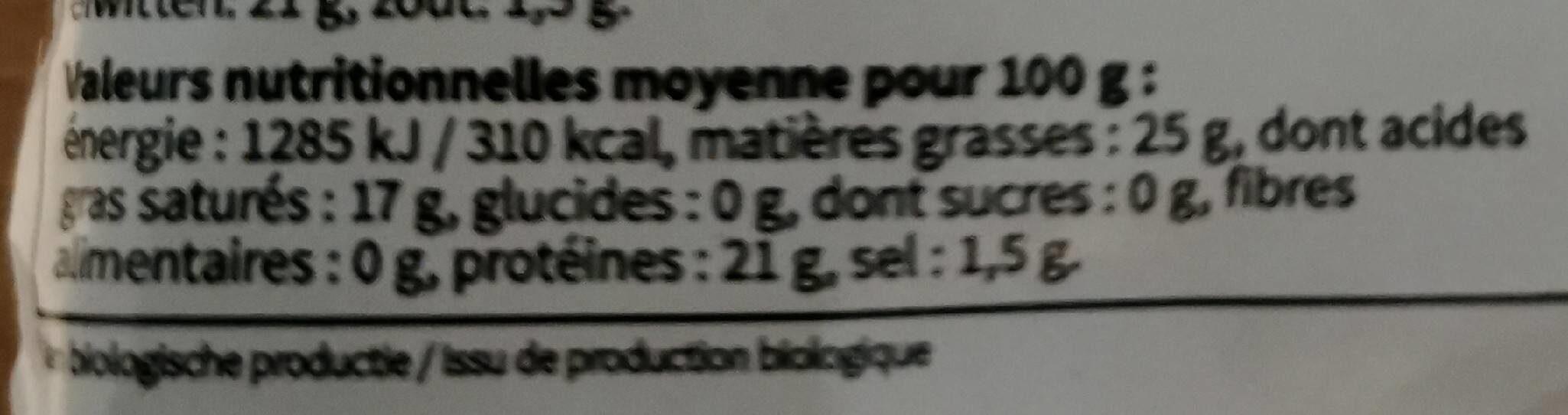 Le doré bio - Informations nutritionnelles - fr