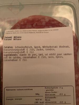 Salami Milano - Inhaltsstoffe
