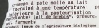 Tomme blanche - Ingrédients