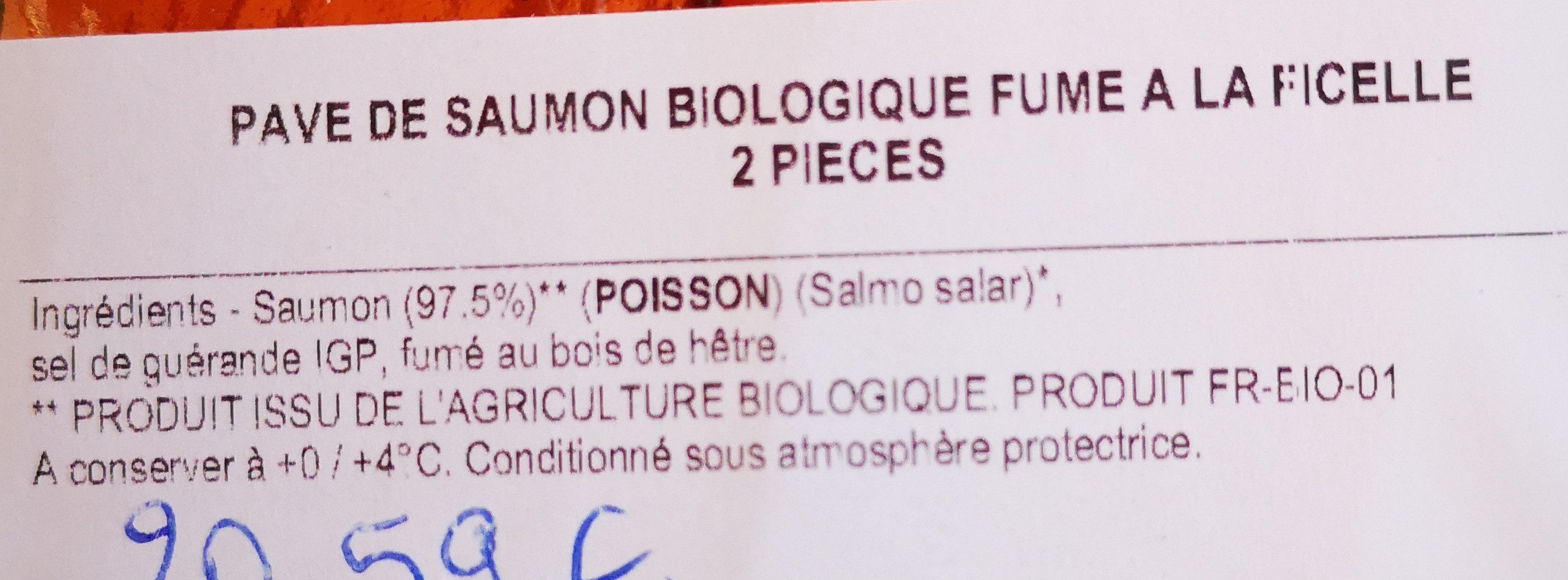 pavé de saumon biologique - Ingredients - fr