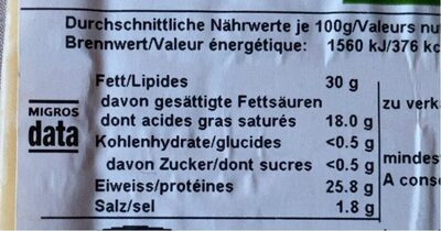 Raclette aletsch - Informazioni nutrizionali - fr