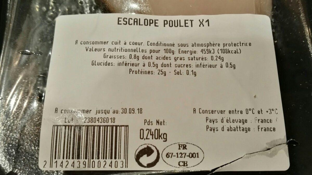 Escalope de poulet - Ingrédients - fr