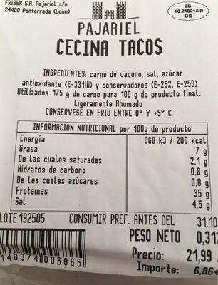 Cecina tacos - Nutrition facts
