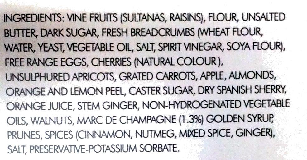 Marc de Champagne Christmas Pudding - Ingrediënten - en