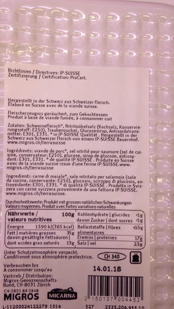 Lard à griller - Valori nutrizionali - fr