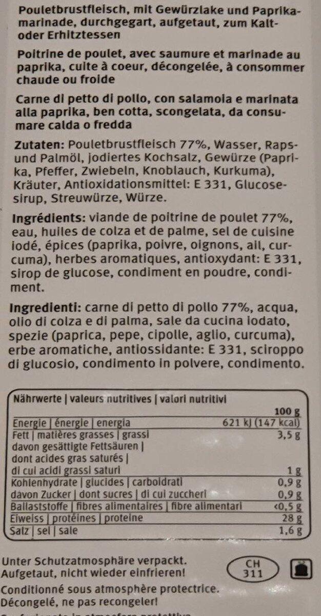 Filets de poitrine de poulet au paprika - Nutrition facts - fr