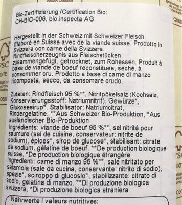 Bio Möckli de boeuf - Ingredients - fr