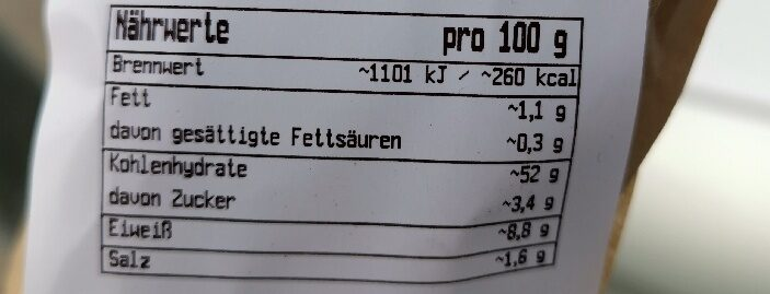 Baguette - Valori nutrizionali - en