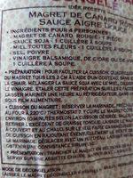 magret de canard  congelé - Ingrédients